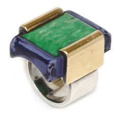 An Art Deco Multi-Gem, Gold and Silver Ring, by Jean Despres. Via FD Gallery, www.fd-inspired.com