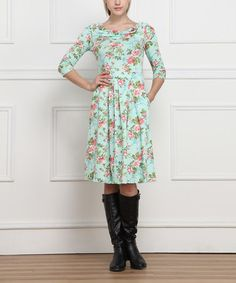 Look what I found on #zulily! Green & Pink Floral Drape Dress - Women by Reborn Collection #zulilyfinds