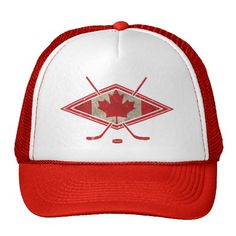 Canadian Hockey Flag Logo Trucker Hats