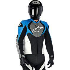 Alpinestars blue leather jacket