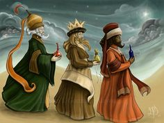 At the time of King Herod, Magi from the East came to Jerusalem: Melchior, who was an elder, Gaspar, a young white man, and Balthasar, a black man and a beard.