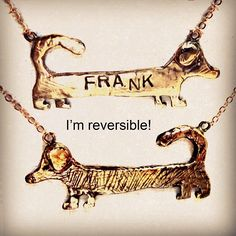 Double Sides Brass Dachshund Dog Weenie Necklace #necklaces