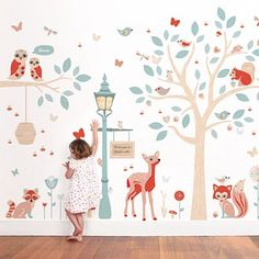 Our woodland wall stickers theme creates a truly magical little world for your child's bedroom or nursery. Full of darling little critters, pretty butterflies, dragonflies, birds and bees, adorable animals, a gorgeous tree and much more, you'll be spoilt for choice with these cute wall decals!