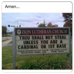 Awesome church sign about the St LOUIS CARDINALS