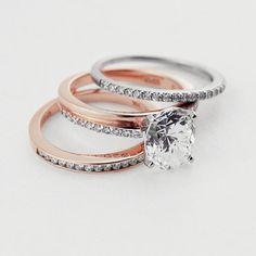 STUNNING Mix and Match Wedding Set! Universal Wedding Band, Milky Way Engagement Ring, Drew Wedding Band