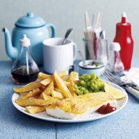 Slimming World Battered fish, chips and mushy peas
