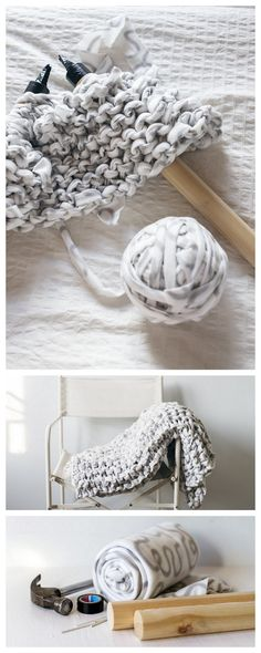 DIY Knit Chunky BlanketMake your own affordable DIY Knit Chunky Blanket using fleece blankets. Many people are intrigued by extreme knitting, but can't afford the really expensive yarn/roving or huge knitting needles that are for sale. This DIY shows...