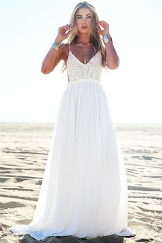 Camilla Open Back Crochet Maxi Dress - White
