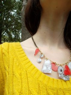 Vintage Inspired Shrink Plastic Charm Necklace by hayliesboutique