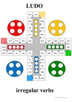 This game can be used to practise irregular verbs. The rules are similar to a regular game of Ludo - the only difference is that when you counter lands on a new square, you must give past forms of a given verb. Efl Teaching, Teaching Drawing, Teaching Grammar, Teaching English, Education English, Teaching Spanish, Kids Education, English Grammar Worksheets, English Verbs