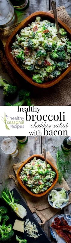 My Healthier Broccoli Cheddar Salad with Bacon is a breeze to make and comes together in just 20 minutes. It's a total crowd pleaser and classic summer side dish. @healthyseasonal