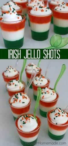 Irish Jello Shots - this fun St. Patrick& Day Treat can be made with or without alcohol. A little goes a long way in making these Jello Shots in colors of the Ireland Flag. Pin to your Recipe Board! Oreo Dessert, Dessert Shots, Shots Drinks, Mini Desserts, Easy Desserts, Irish Desserts, Summer Desserts, Holiday Treats, Holiday Recipes