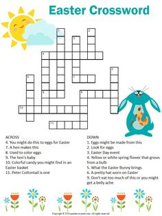 Printable Easter crossword puzzle would make a fun holiday activity for school or home. This is a secular version and free for you to print as you wish. activities for elderly Easter Crossword Puzzle Easter Puzzles, Easter Worksheets, Easter Printables, Free Printables, Easter Crossword, Kids Crossword Puzzles, Kids Puzzles, Sudoku Puzzles, Easter Activities For Kids