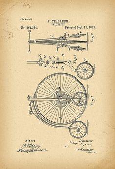 1882 Patent Bicycle Velocipede by Khokhloma