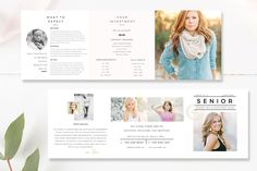 Senior Pricing Template 5x5 Accordion Trifold - Senior Trifold 5x5 Brochure - Photographer Brochure - Photography Templates