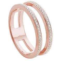 Monica Vinader Skinny Double Band Diamond Ring ($535) ❤ liked on Polyvore featuring jewelry, rings, pave diamond band ring, diamond jewellery, stackable diamond rings, sparkle jewelry and monica vinader