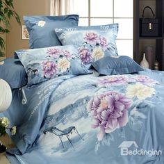 100% Cotton Chrysanthemum Print 4 Piece Bedding Sets
