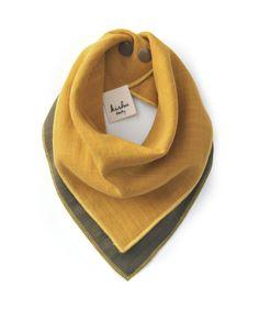 MUSTARD + KHAKI-GREEN solid kishu bib   all-in-one reversible plaid bandana bib + wipe cloth + hand towel - kishu baby