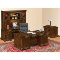 Find an office furniture suite for your executive desk sets at National Business Furniture. Contemporary home office desks sets will help you outfit your space in style. Home Office Desks, Home Office Furniture, Furniture Sets, Executive Desk Set, Executive Office, Walnut Veneer, Walnut Finish, Lateral File, Business Furniture