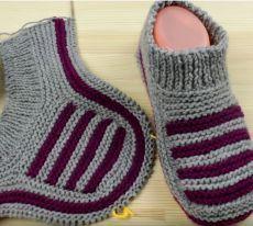 Crochet Slipper Pattern, Crochet Basket Pattern, Knitted Slippers, Crochet Slippers, Knitting Basics, Free Knitting, Knitting Socks, Baby Knitting, Knitting Patterns