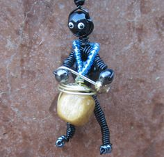African Jewelry - Wire Art Jewelry by Candice Landau - Africanz Creations - Jewelry Charm of Drumming Wire Figure