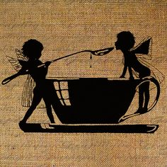 Tea Party Silhouette Children Fairies Tea Cup Spoon by Graphique, $1.00 - Tattoo!