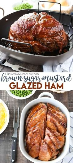 Brown Sugar Mustard Glazed Ham is super easy to make with only a few common ingredients for a thick, sticky glaze. No pre-cooking the glaze. Just mix, slather, and bake. It's the easiest holiday ham! #Easter #Christmas