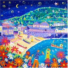 Dancing with Pasties, Port Isaac. Signed Print by John Dyer. Landscape Art, Landscape Paintings, John Dyer, Mexican Artwork, Port Isaac, Naive Art, Sign Printing, Pretty Art, Painting Inspiration