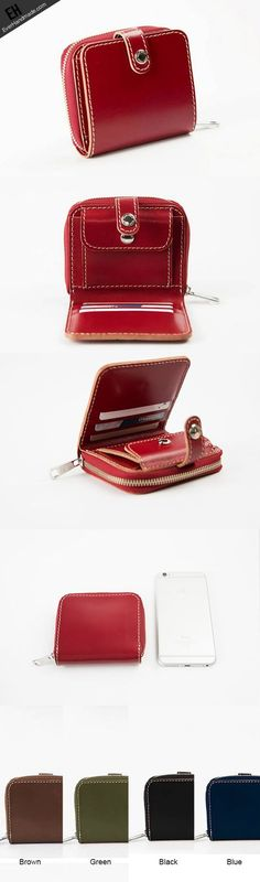 Handmade women short leather wallet zip beige red brown navy short wallet for her