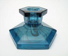 Davidson Glass Blue   1930s Art Deco Blue Cloud Glass Candle Holder Davidson England   eBay