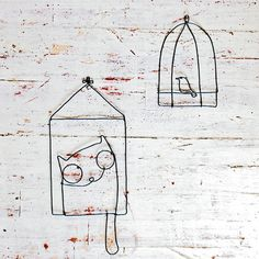 Cat and bird by WireDreams on Etsy, $16.00