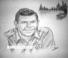 THE ANDY GRIFFITH SHOW PENCIL DRAWING  SHERIFF TAYLOR MAYBERRY FISHING HOLE LAKE…