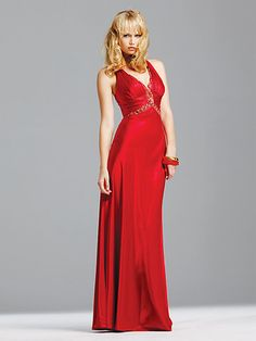 Buy Seductive Deep V-neck Jewel Backless Crossed Straps Refined Floor Length Evening Dress Online Cheap Prices