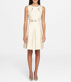 Tahari ASL Metallic DotPrint Jacquard FitandFlare Dress #Dillards