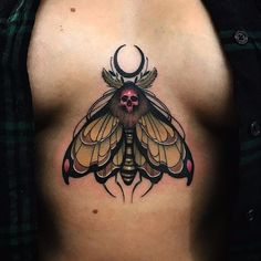 Death moth by Jason James #JasonJames #neotraditional #color #moon #skull #moth #butterfly #insect #nature #death #bones #tattoooftheday