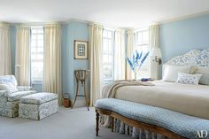 Bedroom Decorating Inspiration: Soothing Shades of Blue | Architectural Digest Architectural Digest, Traditional Interior, Traditional Bedroom, Traditional Furniture, Traditional Design, Apartment Interior Design, Interior Design Studio, Nantucket Home, Bedroom Designs