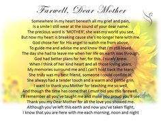 Daughter To Mother Poems For Funeral Funeral Poems For Mom, Funeral Prayers, Funeral Quotes, Mom Prayers, Funeral Messages, Funeral Verses, Funeral Cards, Best Farewell Quotes, Farewell Poems