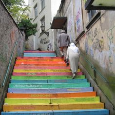 """""""Horst Gläsker crafted a skillful painting on the Holsteiner stairs in Wuppertal using acrylic paint on 112 steps. The fourth staircase contains fifteen German words for love."""" - from herewecollide.com. I would love to see this in person."""