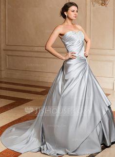 Ball-Gown Sweetheart Watteau Train Satin Wedding Dress With Ruffle Appliques Lace (002004531) - JJsHouse