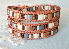 Leather Wrap Bracelet With Tila Beads van MaisJewelry op Etsy