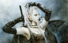 Luis Royo is a Spanish artist, known for his sensual and dark paintings, its apocalyptic imagery, his fantasy worlds and mechanical life forms. He has also recently moved into sculpture.  Royo has produced paintings for both his own books and exhibitions and other media; such as video games, music CD and novels covers, tarot cards.    http://www.luisroyofantasy.com    http://www.luisroyo.com/
