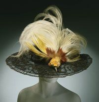 c. 1910    James G. Johnson & Co., Newark, NJ    Black horsehair lace over wire, bird of paradise  Crown (height): 4 inches (10.2 cm) Brim (diameter): 19 inches (48.3 cm)