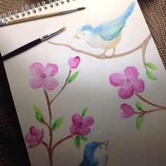 Add some birds! Actually it came from a beautiful plate. And i redraw it.