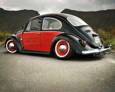 black & red 1968 VW Beetle