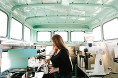 The best coffee truck interior ever! Cheap Countries To Travel, Coffee Industry, Food Truck Design, Coffee Club, Coffee Time, New Travel, Travel Goals, Coffee Truck, Truck Interior