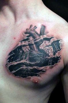50 Ripped Skin Tattoo Designs For Men - Manly Torn Flesh Ink- 50 Ripped Skin Tattoo Designs For Men – Manly Torn Flesh Ink Chest Heart Ripping Through Skin Tattoos For Men - Skin Tear Tattoo, Ripped Skin Tattoo, Flesh Tattoo, Weird Tattoos, Body Art Tattoos, Sleeve Tattoos, Tattoos For Guys, 3d Tattoos, Rip Tattoo