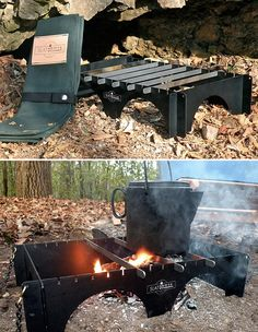 Perfect camping or bug out grill, collapsible and stores in a pouch.