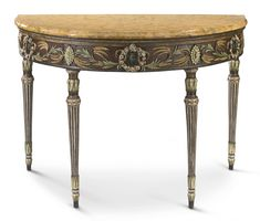AN ITALIAN NEOCLASSICAL CARVED AND POLYCHROME-DECORATED DEMILUNE CONSOLE TABLE VENICE, CIRCA 1770