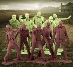 Plastic Zombie Men - Inspired by The Walking Dead TV series, here's a set of 10 ghoulish figures to reenact the show with. Couple them with the skateboarding plastic figures, and you've got yourself a setup for somecrazy encounters.