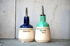 Ceramic olive oil and vinegar dispensers olive oil by claylicious